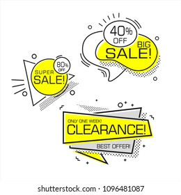 Set of flat shaped SALE banners, price tags, stickers, badges. Vector illustration.