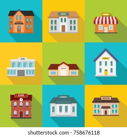 Set of flat shop building facades icons with long shadow. Vector illustration for town local market store house design. Shop facade building, street front commercial market and school