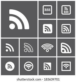 Set of flat simple dark  rss icons, vector illustration
