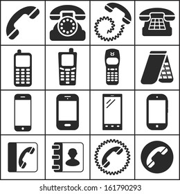 Set of flat simple icons (phone, telephone, communication), vector illustration
