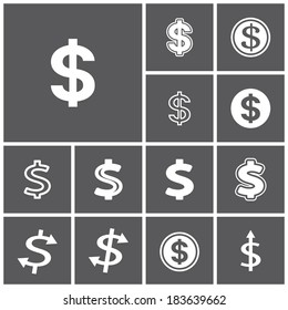 Set of flat simple web icons (dollar sign, money, finance, banking), vector illustration