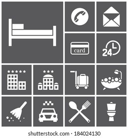 Set of flat simple web icons (hotel, rooming), vector illustration