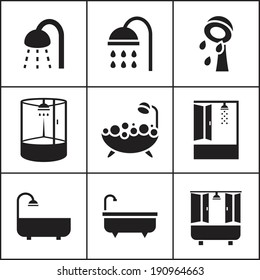 Set of flat simple web icons (bathtub, shower, douche ), vector illustration. Icons for house remodel