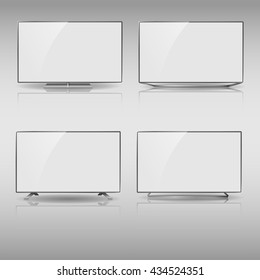 Set of Flat Smart TV Mockup, modern flat screen lcd, Smart led with blank screen,  LED TV hanging on the wall.