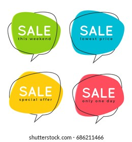 Set of flat speech bubble shaped banners, price tags, stickers, badges. Vector illustration.