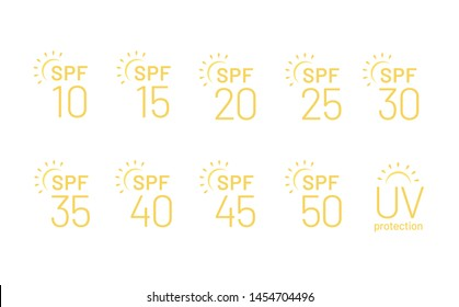 Set of flat SPF sun protection icons isolated on white background. Icons for sunscreen products or other skin cosmetics. - Vector illustration