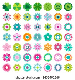 Set of flat Spring flower icons in silhouette isolated on white