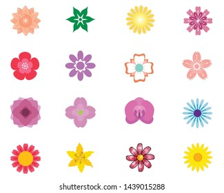 Set of flat Spring flower icons in silhouette isolated on white. Cute retro illustrations in bright colors for stickers, labels, tags, scrap booking.