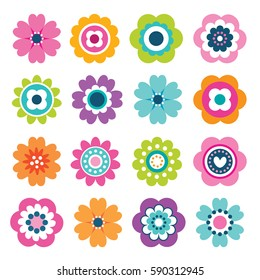 Set of flat Spring flower icons in silhouette isolated on white. Cute retro illustrations in bright colors for stickers, labels, tags, scrapbooking.