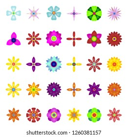 Set of flat Spring flowers icons in silhouette isolated on white. Cute retro illustrations in bright colors for stickers, labels,  tags, Vector