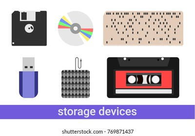 Set of flat storage devices vectors icons, eps