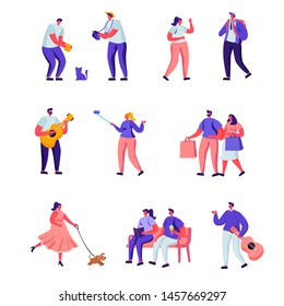 Set of Flat Street Musicians and Pedestrians Characters. Cartoon Guitarist and Saxophonist Playing Music, People Watch Concert, Put Money in Hat. Vector Illustration.