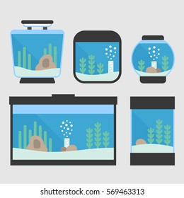 Set of flat style aquarium tanks. 5 different types of aquariums with plants and decor. Vector illustration for pet shop.