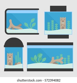 Set of flat style aquarium tanks. 4 different types of aquariums with plants and decor. Vector illustration for pet shop.