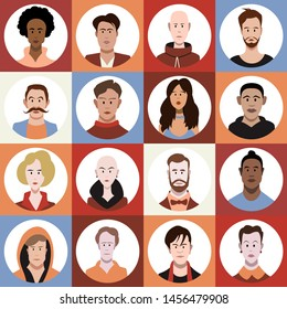 Set of flat style avatars of colorful vector icons. Character set of people.
