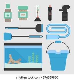 Set of flat style cleaning tools and equipment for aquarium maintenance. Vector illustration of aquarium supplies for pet shop.