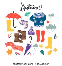 Set of flat style clothing images for autumn wardrobe. Cartoon multicolored objects for rainy fall weather. Clipart hand drawn items of scarf, sweater, umbrella, clouds, leaves, gumboots, woolen hat