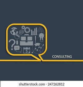 Set of Flat Style Designs. Business Concepts. Consulting Concepts Design, vector.