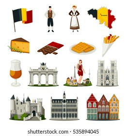 Set of flat style icons with symbols of belgium including food architecture national costumes isolated vector illustration