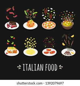 Set flat style icons of traditional italian food. Template card with steak, pizza,  spaghetti, minestrone soup, lasagna, cappelletti, bruschette, arrosticini.  Vector illustration.