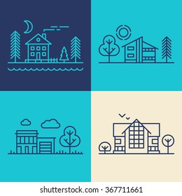 Set of Flat Style Line Art Vector Illustrations for Countryside Houses