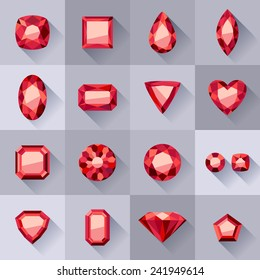 Set of flat style red jewels. Colorful gemstones. Rubies isolated on gray background.