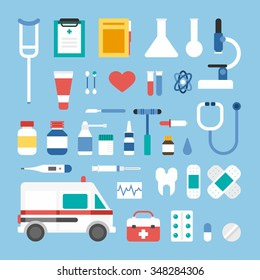 Set of Flat Style Vector Icons and Design Elements. Medical Icons and Objects. Ambulance, Suitcase, Thermometer, Patch, Microscope, Pipette, Scalpel, Spray, Tooth, Pills, Medical Supplies