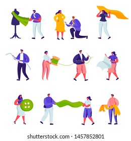 Set of Flat Tailoring and Creative Atelier Workers Profession Characters. Cartoon Fashion Design, Dressmakers Create Outfit and Apparel, Mannequin. Vector Illustration.