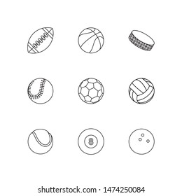 set of flat thin line balls icons on white background. simple vector logo art for tournament illustration and sport apps. eps 10