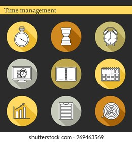 Set of flat time management icons for your design