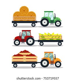 Set flat tractors with a cart corn, hay, tomato isolated on white background. The agricultural machinery transports for farm with harvest - vector illustration.
