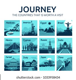 Set of flat travel banners with different countries of world. Travel and tourism. Journey. Countries that is worth visit