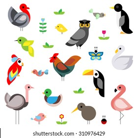 Set of flat vector birds composed of simple geometric shape
