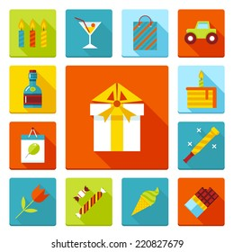 Set of flat vector birthday party icons. Holiday, wedding, jubilee, celebrating of event.