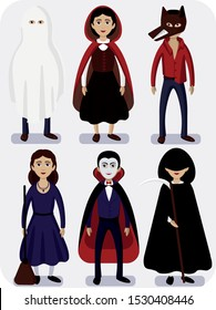 Set of flat vector cartoon illustration. Halloween costumes of a werewolf, a witch, a death, little red riding hood, a vampire, a ghost