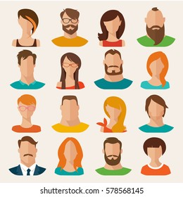 Set of flat vector characters. Vector avatars. Male and female vector portraits.