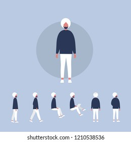 Set of flat vector characters in different poses. Young indian man wearing a turban. Lifestyle illustration. Flat editable vector, clip art