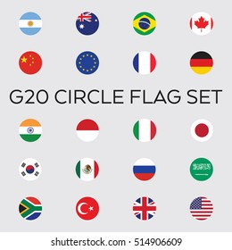 A set of flat vector circle flags for the entire group of G20 nations. These countries make up the top economies in the world.