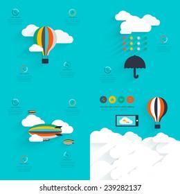 Set of flat vector design of the startup process, cloud storage, responsive web design