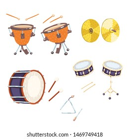 Set of flat vector drums. Triangle, cymbals, snare drum, bass drum, timpani, drum sticks. Classical percussion musical instruments. Warm, golden, silver colors. Isolated objects. White background