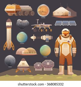 Set of flat vector elements on the theme of astronomy, space exploration, colonization of Mars, moon, Europa and Titan. Space adventure. The first colonies. Terraforming. Modern flat design.