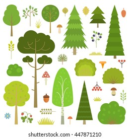 Set of flat vector forest elements: trees, spruce, pine, grass, mushrooms, moss, berries and bushes isolated on transparent background.