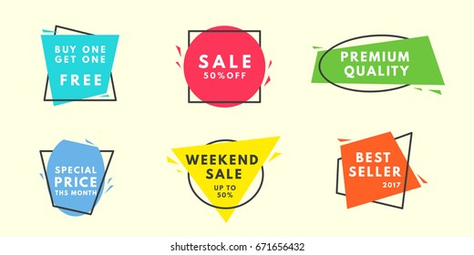 Set of flat vector geometrical vintage warm color banners. Promotion concept. Vector illustration.