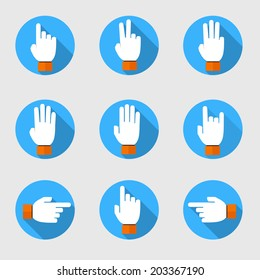 set of flat vector hands make number