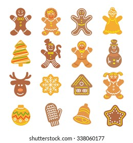 Set of flat vector icons of different Christmas cookies. Gingerbread men and girls, tree, deer, snowflake, bell and other holiday symbols, baked by hand. Festive baking for winter holidays