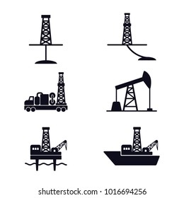 Set of flat vector icons for oil and gas industry; onshore and offshore drilling. EPS 10.