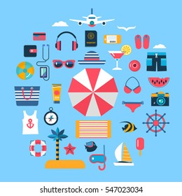 set of flat vector icons for summer travel