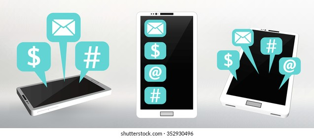 Set Flat vector illustration of modern Mobile phone with different icons