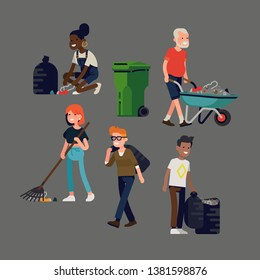 Set of flat vector illustrations of people cleaning up. Collection of volunteers collecting garbage and litter. Ideal for plastic pollution awareness, environment protection and eco themed design