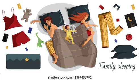Set of flat vector illustrations of a sleeping young family with a child and his teddy bear in bed and isolated objects of the interior, sleepwear, children's toys.